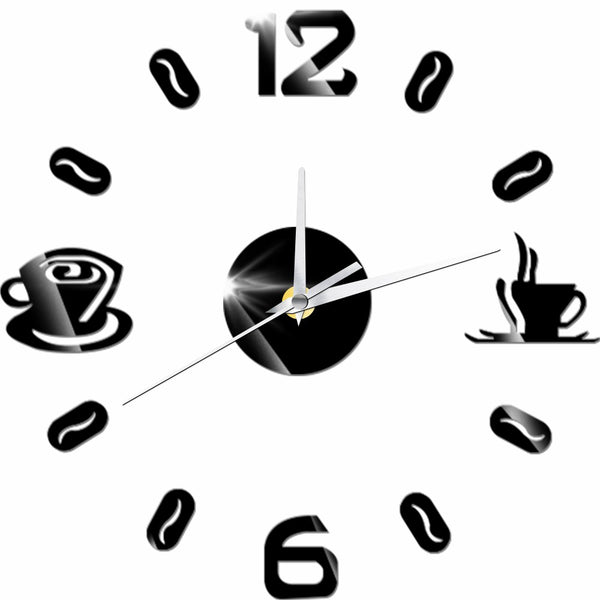 3D DIY Digital Number Coffee Cup  Acrylic Clock Self-adhensive Quartz Non-ticking Wall Clock Kitchen Home Decor