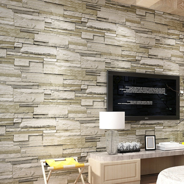 3D Stereoscopic Stone Brick Wallpaper Flocked Non-woven Wall Paper for Bedroom Living Room TV Background Wallcoverings 10M