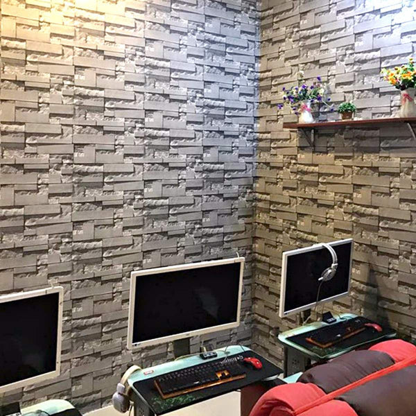 3D Wallpaper Bedroom Living Mural Roll Modern Faux Brick Stone Wall Paper Non-woven Fabrics Vintage Exfoliator Embossed Wash
