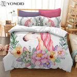 3D Watercolor Bedding Set Unicorn Hippie Duvet Cover Sets Pillowcase AU/US/EU Single/Double/Queen/King 2/3pcs Duvet Cover Sets