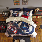 3D marvel comforter cover sets queen size boys cartoon home textile captain america egyptian cotton bedding disney bed linen 4pc