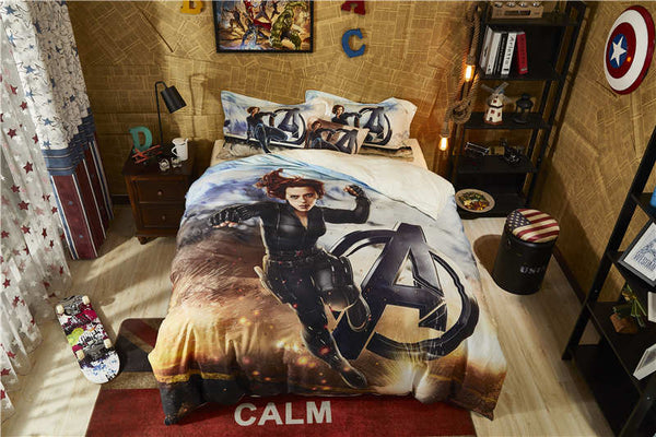 3D marvel comforter cover sets twin size boys cartoon home textile egyptian cotton bedding disney black widow bed linen 4pc teen