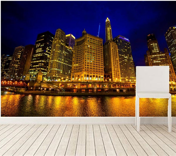 3D wallpaper,beautiful night view of Chicago,golden buildings under the light,living room TV wall bedroom large murals