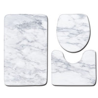 3PCS Marble Printed Toilet Seat Cover Rug Set Toilet Decoration Bathroom Set Antislip Mat Decorations for Home Door Mat Bathroom
