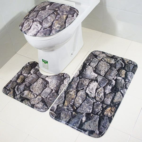 3PCS Rock 3D Printing Toilet Seat Cushion Toilet Cover Bedroom Rug Non-Slip Mat Set kitchen Door Floor Mat Home Decor