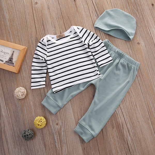 3PCS Set Newborn Kids Baby Boys Girls Outfits Clothes Tops T-Shirts Long Sleeve + Pants Legging + Hat Casual Clothing