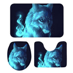3Pcs Toilet Seat Cushion Suit Cool Animal Wolf 3D Printing Doormats Non-Slip Suction Grip Bath Mat Kitchen Washroom Bathroom Rug