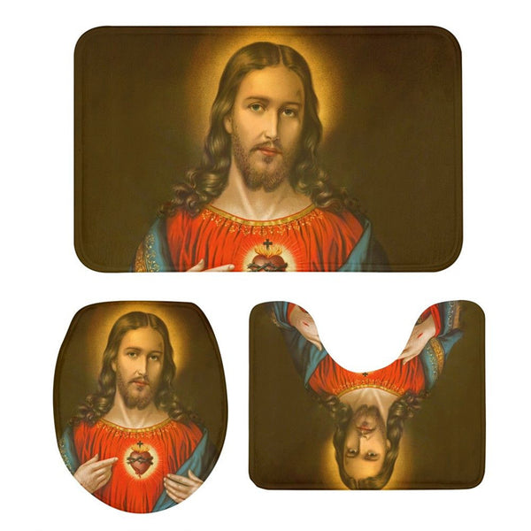 3Pcs Toilet Seat Cushion Suit Cool Jesus 3D Printing Carpet Non-Slip Suction Grip Bath Mat Bathroom Kitchen Washroom Doormat Rug
