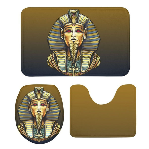 3Pcs Toilet Seat Cushion Suit Egyptian Pharaoh 3D Printing Doormat Anti-Slip Suction Grip Bath Mat Kitchen Washroom Bathroom Rug