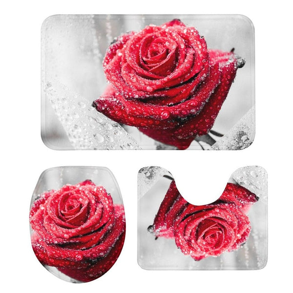 3Pcs Toilet Seat Cushion Suit Rose Floral 3D Printing Doormats Anti-Slip Suction Grip Bath Mats Kitchen Washroom Bathroom Carpet