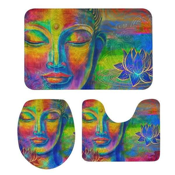 3Pcs Toilet Seat Cushion Suit uddha 3D Printing Doormats Anti-Slip Suction Grip Bath Mats Washroom Bathroom Eco Friendly Doormat