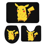 3Pcs Toilet Seat Mat Suit Anime Cartoon Cute Pikachu 3D Printing Rug Anti-Slip Suction Grip Bath Mats Bathroom Washroom Doormats