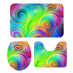 3Pcs Toilet Seat Mat Suit Fantasy Colorful 3D Printing Doormats Non-Slip Suction Grip Bath Mats Kitchen Washroom Bathroom Rug