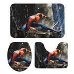 3Pcs Toilet Seat Mat Suit Marvel Spiderman 3D Printed Rug Non-Slip Suction Grip Bath Mat Bathroom Eco Friendly Skin-friendly Mat