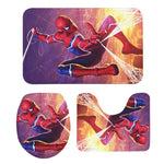 3Pcs Toilet Seat Mat Suit Marvel Spiderman 3D Printing Carpet Non-Slip Suction Grip Bath Mat Bathroom Kitchen Doormats Home Deco