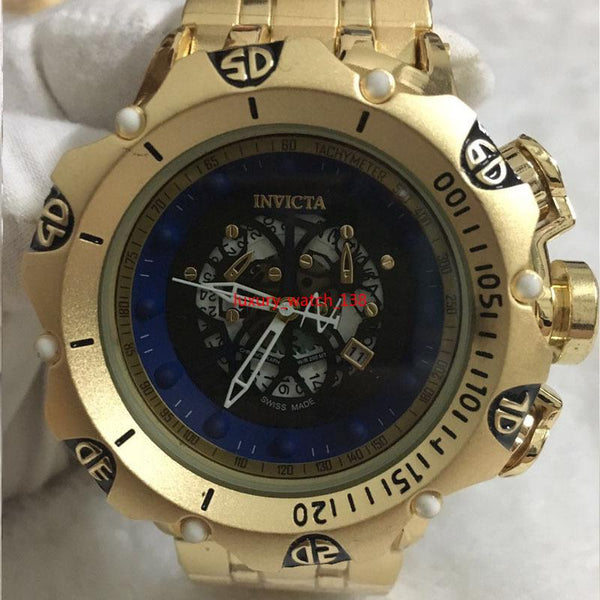 SUPER BIG 55mm Invicta GOLD watches stainless steel strap Mens Watches Quartz Wristwatches relogies for men