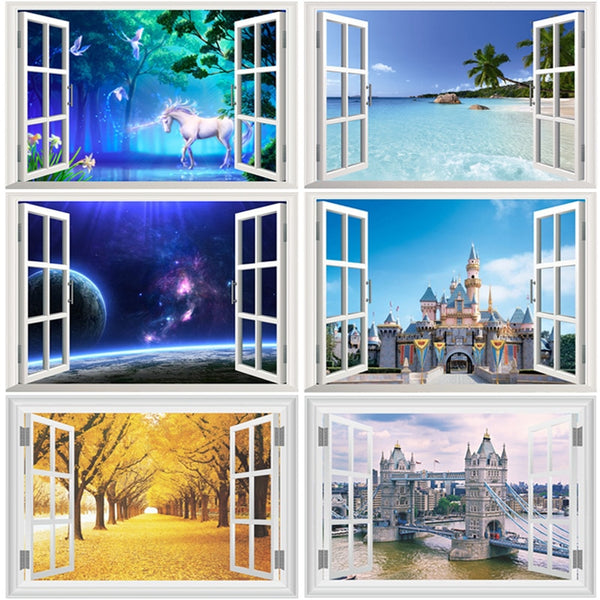 3d Window Wall Stickers For Living-room Bedroom Study Room Home Decor Scenery Sea Hill Animal Forest Space Pvc Mural Art Decals