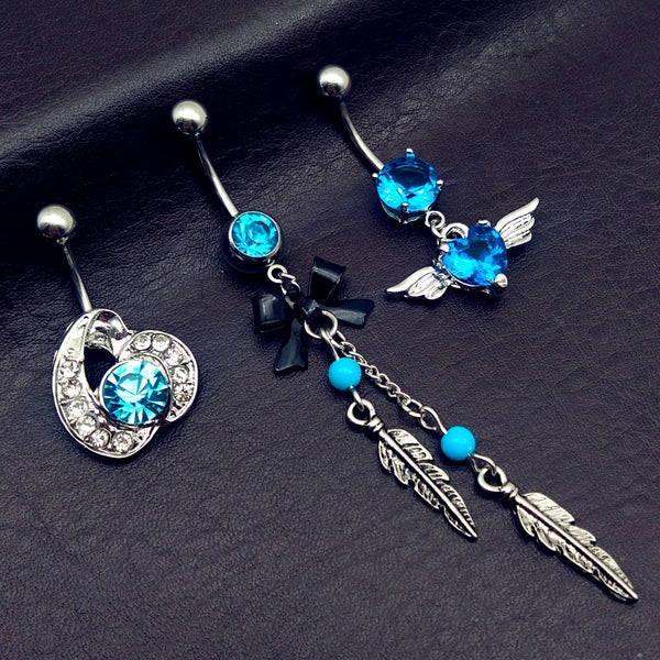 3pcs 2019 new arrivals blue heart CZ bow mix style dangling navel belly bar button rings body piercing jewelry free shipping