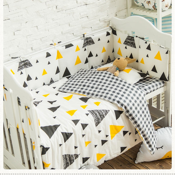 3pcs Baby Bed Linens Set Cotton Baby Bedding Set Triangle Pattern Newborns Crib Set Include Pillowcase Duvet Cover Flat Sheet