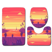 3pcs Non-Slip Fish Scale Bath Mat toilet seat cover toilet lid Bathroom restroom Kitchen Carpet Doormats coconut tree print new