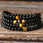 4 A Natural Brazil Black Onyx 108 Beads Bracelet Tiger Eye Chain Bead Men And Women Lovers Bracelet Worldwide Fashion Jewellery