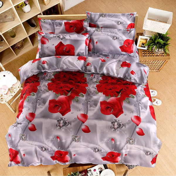 4 pcs Rose Bedding Set Romantic Duvet Cover Floral Bed Linen Double Bed Sheet Comforter Quilt Bedspread Queen Size