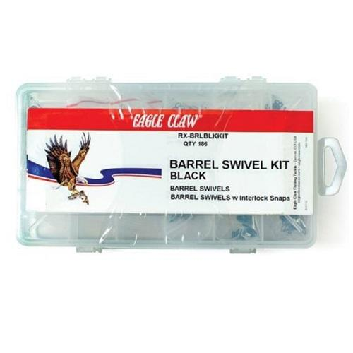 Eagle Claw Black Barrel Swivel Kit with 186 Pieces