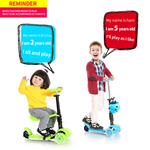 LADYBUG'S MULTI-PURPOSE kick Scooter baby 3in1 PU 3wheels glow outdoor
