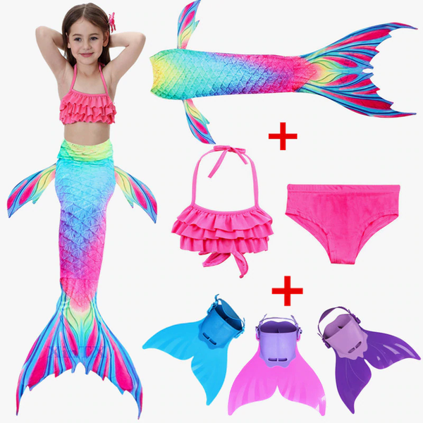 2018 NEW! Mermaid Tail with Monofin for Kids Swimsuit Flipper