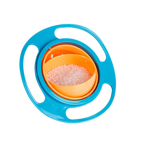 2017 Non Spill Feeding Toddler Gyro Bowl 360 Rotating Baby Kids Avoid Food Spilling Safety Creative Gyroscope Baby Bowl
