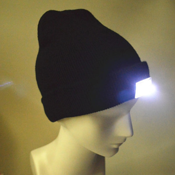 5-LED Lighted Cap Winter Warm Beanie Angling Hunting Camping Hat 5Color