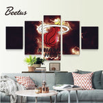 5 Panel Miami Heat Sport Logo Basketball Poster Paintings Wall Art Game Wall PictureFor Living Room Modern Home Decor Unframed