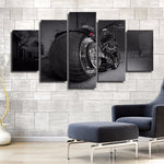5 Pieces Canvas Pictures Boys Room Home Decor HD Print Motorbike Poster Wall Art Frame Motorcycle Chopper Sports Painting Poster