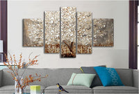 5 panels Abstract Gold Tree oil Painting Palette Knife Hand Painted Canvas Art Acrylic Modern Wall Decorations For Living Room