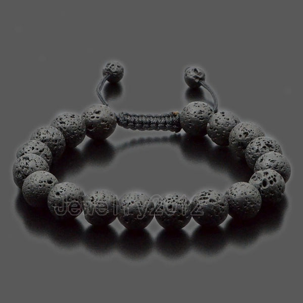 5PCS/Lot Black Lava Fashion Men's 10mm Natural Gem stones Macrame Beads Yoga Mala Beaded Bracelet Adjust Handmade Wholesale