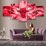 5Piece Wall Canvas Painting Art Picture Printed Chicago Bulls Team Posters Art Canvas For Home Quadros Artwork Canvas Art