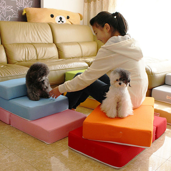 6 colors Folding Breathable Mesh Pet Ramp Stairs Pet Steps For Dog Puppy Cat Little Small Animal Mat Detachable with Cover