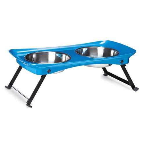 Zack and Zoey Shimmer Melamine Pet Diner - Blue