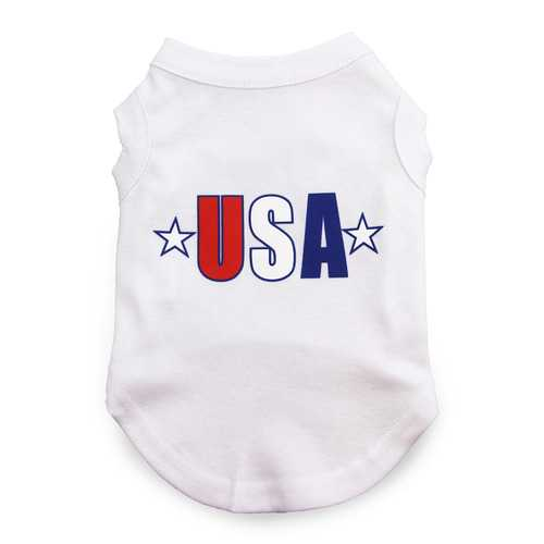 USA Star Screen Print Dog Tank - White