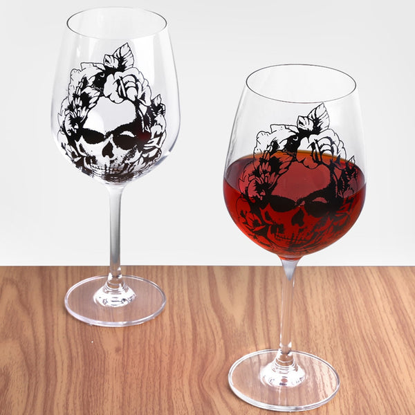 630ml Wine Glass Skull-printed Goblet Red Wine Beer Liquor Drinking Cup for Home Bar Party Halloween Christmas Gifts