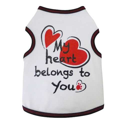 My Heart Belongs to You Dog Tank - White