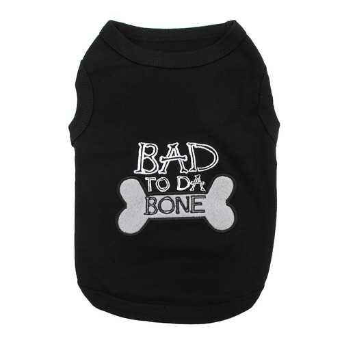 Bad to Da Bone Dog Tank by Parisian Pet - Black