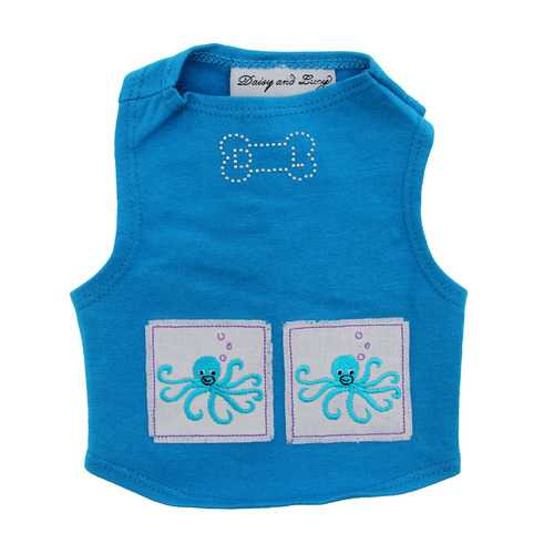 Octopus Dog Tank by Daisy and Lucy - Blue