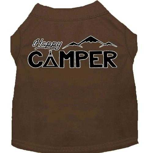 Happy Camper Screen Print Dog Shirt - Brown