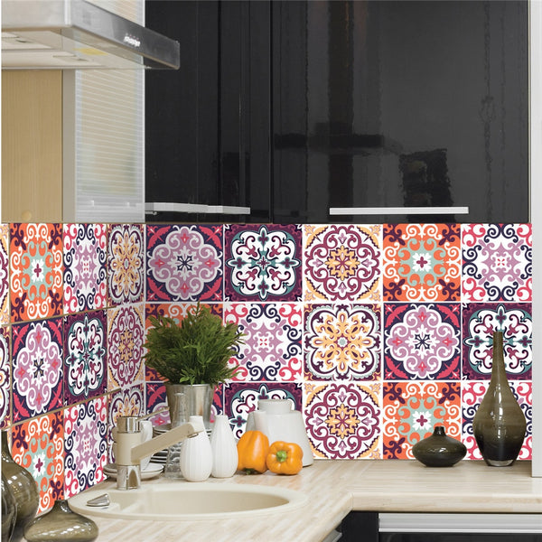 6pcs/set 8 X 8 inches Italian Retro Pattern Wall Tiles Stickers DIY Waterproof PVC Wall Sticker Kitchen Bathroom Toilet Wallpaper