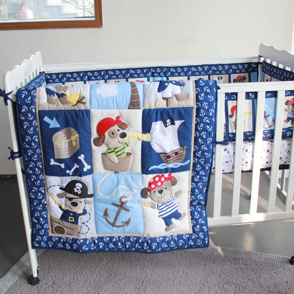 7 piece newborn baby crib bedding set for boys 100% cotton,Reactive and  embroidery quality baby cot bedding,pirate dog design