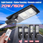 70W/150W LED Solar Street Light Wall Lamp Light+Radar Sensing+Remote Control Waterproof Outdoor Garden Fence Wall Timer Lamp