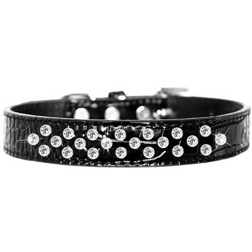 Sprinkles Clear Jewel Croc Dog Collar Black Size 12