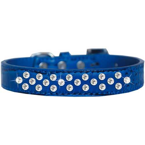 Sprinkles Clear Jewel Croc Dog Collar Blue Size 16