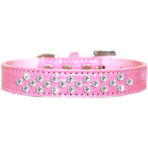 Sprinkles Clear Jewel Croc Dog Collar Light Pink Size 18